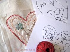 hearts and flowers stitch designs by Charlotte Lyons