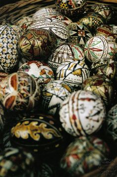 Traditional Romanian Easter Eggs, Transilvania, Romania- I have two of these, a romainian man I met gave them to me as a souvenir