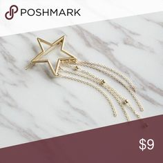 "New! Gold Shooting Star Hair Barrette Clips This unique and adorable cutout gold shooting star hair clip is great to adorn any hair style. Includes five chains with one with small gold beads as pictured. Pair with a bun, ponytail, or other updo for a touch of trendy elegance! :)  Gold shooting star hair clip measures approximately 6"".  See more jewelry and hair accessories at https://www.etsy.com/shop/TogaPartyCentral Accessories Hair Accessories"