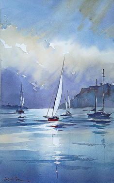 Watercolor by Thomas Schaller Sailboat Painting, City Painting, Painting Abstract, Gouache Painting, Watercolor Landscape, Landscape Paintings, Watercolor Artists, Abstract City, City Art