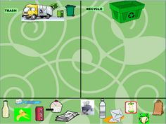 Earth Day smartboard sorting activity - Trash or Recycle?