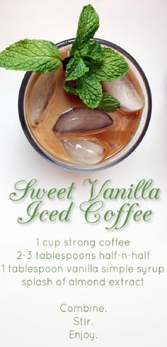 This Sweet Vanilla Iced Coffee Recipe looks like the perfect treat for this weekend! #Coffee #Recipe #Infografía