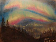Aurora borealis. Pastel.