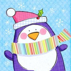 Hannah Wood - NEW - hw whsmith penguin. Vintage Christmas Crafts, Christmas Clipart, Diy Christmas Gifts, Handmade Christmas, Christmas Decorations, Christmas Drawing, Christmas Paintings, Penguin Art, Xmas Wishes