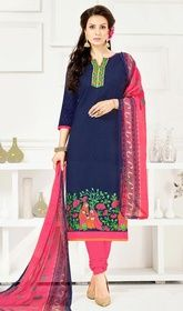 Navy Blue Color Embroidered Cotton Churidar Kameez #buychuridaronlineusa#churidarlongtop Look stunning gorgeous dressed with this navy blue color embroidered cotton churidar kameez. The attractive lace, patch and resham work throughout the dress is awe-inspiring. USD$ 55(Around £ 38 & Euro 42)