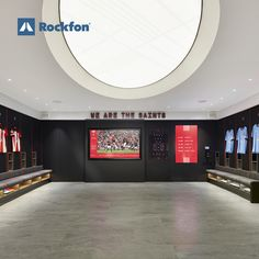 KSS was appointed to redesign the changing suite for Premier League Southampton Football Club. The vision was to create the right atmosphere for the players to focus and concentration. Good speech intelligibility was a must, and Rockfon Mono Acoustic was chosen to help for perfect pre-match preparedness. The unique monolithic ceiling gave high sound absorption and resistance for a great indoor climate. One team, one dream, one solution #SoundsBeautiful #rockfon #ceiling #design #football Southampton Football, Southampton Fc, Ceiling Design, Wall Design, Acoustic Design, Sound Absorption, Good Environment, Visual Comfort, Ceilings