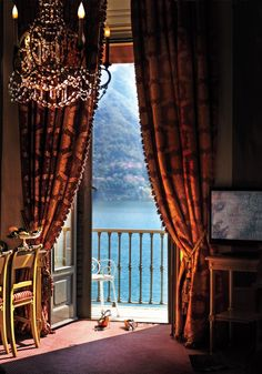 One of the rooms at Villa d'Este on the western shore of Lake Como, Cernobbio, Italy