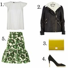 golden state | LE CATCH white t-shirt print flare skirt leather jacket yellow clutch heels