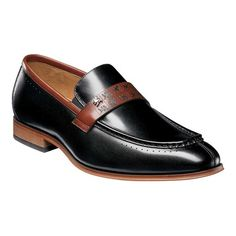 Men s Stacy Adams Sussex Moc Toe Loafer 25179 - Black Cognac Smooth Leather  Moc Toe ee3efad525b4