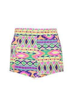 Satty Neon Aztec Bright Knicker Shorts