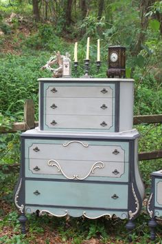 Turquoise, white and gray chest