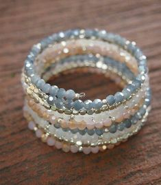 Design your own photo charms compatible with your pandora bracelets. Sandy crystal memory wire bracelet Boho Wrap Bracelet by Memory Wire Jewelry, Memory Wire Bracelets, Handmade Bracelets, Jewelry Bracelets, Handmade Jewelry, Wrap Bracelets, Bangles, Ring Armband, Armband Diy