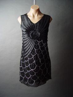 Black Beaded Art Deco 1920s Flapper Mermaid Cocktail Dress