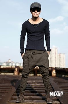 Free Shipping Autumn unique waist rope skinny pants male fashion Men casual pants harem pants k075-inPants from Apparel & Accessories on Ali...