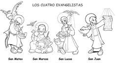 The Four Evangelists: Saints Matthew Mark, Luke, and John Catholic Coloring Page