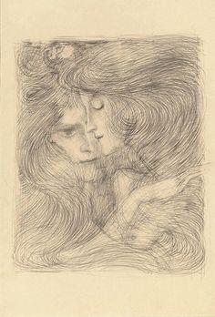 Two women, 1897, Jan Toorop. Dutch (1858 - 1928) - Pencil on paper -
