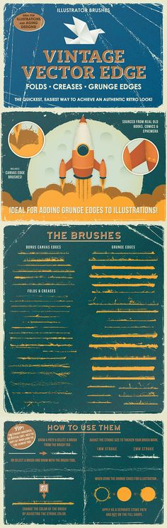 Pinceles de bordes vintage para Illustrator - Vintage Vector Edge Brushes
