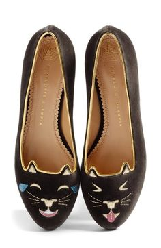 Free shipping and returns on Charlotte Olympia LOL Kitty Flat (Women) at Nordstrom.com. Charlotte Olympia's iconic Kitty flat gets a playful update with a winking face and a smiling pout. Made from sumptuous velvet and edged in gilt piping, this Italian pointy-toe silhouette is finished with a gleaming heel.