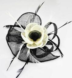 Stunning Black and Cream Sinamay Feather Flower Fascinator On Comb - Gorgeougalz Black And White Fascinators, Star Awards, Fascinator Hats, Black Cream, Feather, Wedding, Beautiful, Vintage, Amazon