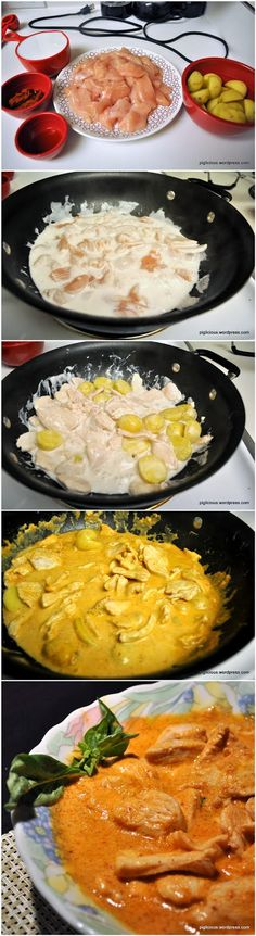 Thai curry chicken 1 lb chicken breast fillets  2 teaspoons vegetable oil  1 cup coconut milk  2 1/2 tablespoons panang curry paste  1 – 1 1/2 teaspoon fish sauce (to taste)  8 small potatoes or 2 large potatoes (optional)  Basil for garnish (optional)