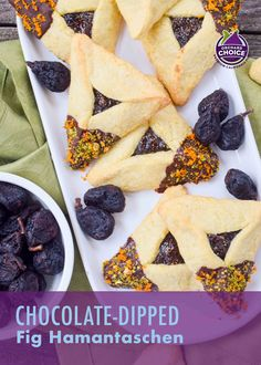 Chocolate-dipped fig hamantaschen are great at Purim but these cookies are great year round. Photo and recipe by Emily Paster. #fighamantaschen #valleyfig Passover Desserts, Holiday Desserts, No Bake Desserts, Dessert Recipes, Fig Jelly, Dried Fig Recipes, Fig Dessert, Fig Cake, Dried Figs