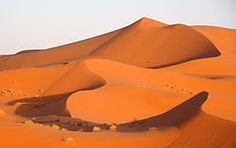Landscape of the Erg Chebbi at sunset