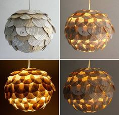 Pendant Lamps Made From Recycled Books Etsy artist Allison Patrick makes her artichoke-shaped lamps out of recycled books, road maps, and cocktail umbrellas. Hanging Paper Lanterns, Hanging Lights, Cocktail Umbrellas, Recycled Books, Book Pages, Creations, Pendant Lamps, Pendant Lights, Jar Chandelier