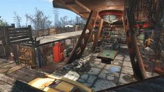 Post with 47 votes and 3644 views. Tagged with , , ; Shared by VanceMurdock. Fallout 4 Red Rocket Settlement - Private Home Rooftop Patio, Rooftop Bar, Main Entrance, Entry Hall, Closed Doors, Sliding Doors, Robotics Workshop, Windmill Generator, Fallout 4 Settlement Ideas