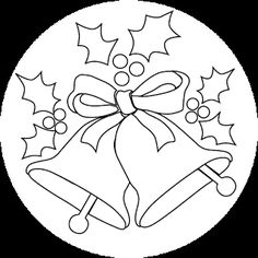 View the pictures of two Christmas bells with holly. Print and color the Christmas bells drawing. Christmas Bells Drawing, Christmas Paintings, Christmas Wood, Christmas Colors, Christmas Angels, Christmas Crafts, Crochet Christmas, Christmas Templates, Christmas Printables