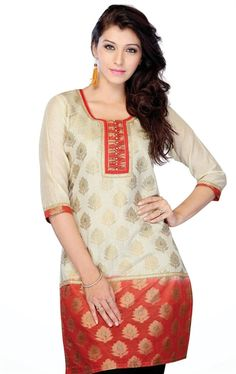 Picture of Angelic Beige and Red Indian Kurtis Online