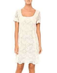 This delicate dress has been flawlessly crafted from macrame' lace. The elegant, close-fitting design is lined for a perfect cover up. Create an edgy look with the Blumarine leather macrame-appliqued jacket.