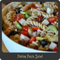 Italian Pasta Salad—A cold pasta salad packed with all sorts of wonderful veggies and some fresh mozzarella cheese. Perfect for bbqs or potlucks!