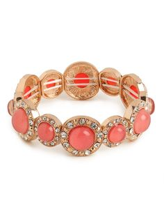 Newbie Knockout Winner!  This item was selected by our Facebook fans.  Pick it up at an insider price for 24 hours only!  Delight in the posh charm of this lovely bracelet, which features beautiful cerise-colored gems in a bezel setting covered in glittering pav crystals. We love it.