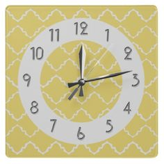 Elegant Quatrefoil Pattern - Yellow White Square Wall Clocks