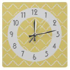 Elegant Quatrefoil Pattern - Yellow White Square Wall Clocks