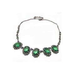 Antique Emerald Statement Necklace found on Polyvore featuring polyvore, fashion, jewelry, necklaces, emerald jewelry, statement necklace, emerald statement necklace, antique emerald jewelry and emerald costume jewelry