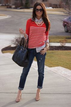 Bright crew neck, oxford shirt, rolled up jeans, pumps, and wrap necklace
