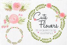 Watercolor Cute Flowers by Lizamperini on @creativemarket