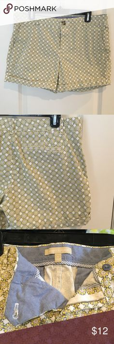 REDUCED! Banana Republic shorts Very cute shorts and worn only once! These shorts are white with a yellow, tan, and green geometric floral design. Back pockets are still seen shut. Like new! Banana Republic Shorts