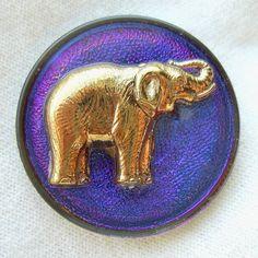 Czech Glass ELEPHANT Button