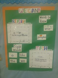 "Weekly ""We Can"" chart. Display skills that kids should know. Use page protectors to display ""I Can"" statements. Display new sight words and vocab before moving to Word Wall. Kids can reference for journaling."