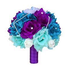 15pc Wedding Bridal Flowers Bouquets Boutonniere - Turquoise, Purple - Silk Roses Flowers ** See this great product.