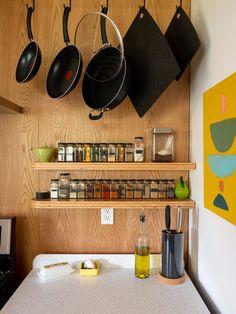 Alder Street by Spacecraft - Dwell 50s Kitchen, Laminate Cabinets, Ceramic Floor Tiles, Undermount Sink, Kitchen Photos, Knife Block, Cool Kitchens, Spacecraft, Ceiling Lights