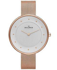Skagen Denmark Women's Gitte Rose Gold-Tone Stainless Steel Mesh Bracelet Watch 38mm SKW2142 - Women's Watches - Jewelry & Watches - Macy's ... - sale womens watches, cheap womens watches online, cheap womens designer watches
