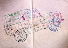 traveling car made of passport stamps. SO AWESOME