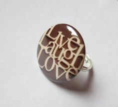 Live Laugh Love White and Chocolate Button and Silver Plated Adjustable Ring by GypsyDreamerCafe, $6.75