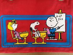 Vintage Peanuts Snoopy Red Bag by RetroVintageHeart on Etsy<a… Vintage Heart, Retro Vintage, Vintage Items, Snoopy School, Vintage School, Red Bags, Lv Handbags, Peanuts Snoopy, Charlie Brown