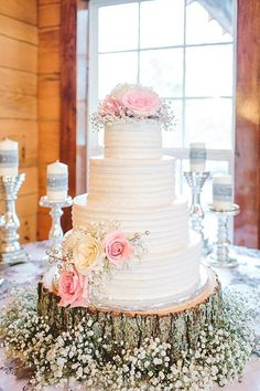 white buttercream wedding cake with tree stupm and baby's breath flowers / http://www.deerpearlflowers.com/rustic-budget-friendly-gypsophila-babys-breath-wedding-ideas/