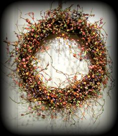 "20"" Spring Mix Pip Berry wreath with mixed berries."