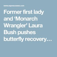 Former first lady and 'Monarch Wrangler' Laura Bush pushes butterfly recovery…